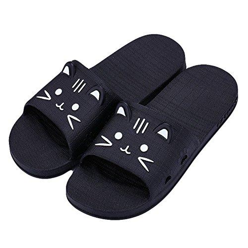 Zapatillas Cartoon ALIKEEY amp; Negro Outdoor De Indoor Hombres Zapatillas Verano Cat Piso Sandalias Baño 55x7qrZAw