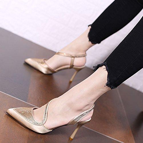 S GTVERNH Altos Señoras Zapatos Trasera Señaló Diamante Solo Belt Elegantes 8Cm Los Vacia black Tacones Moda qq8xrgA