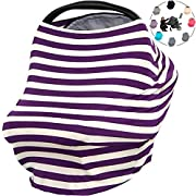 OLizee Universal Baby Stretchy Nursing Canopy Covers For Privacy Breastfeeding Stroller Cozy Car Seat(Purple and white stripes)