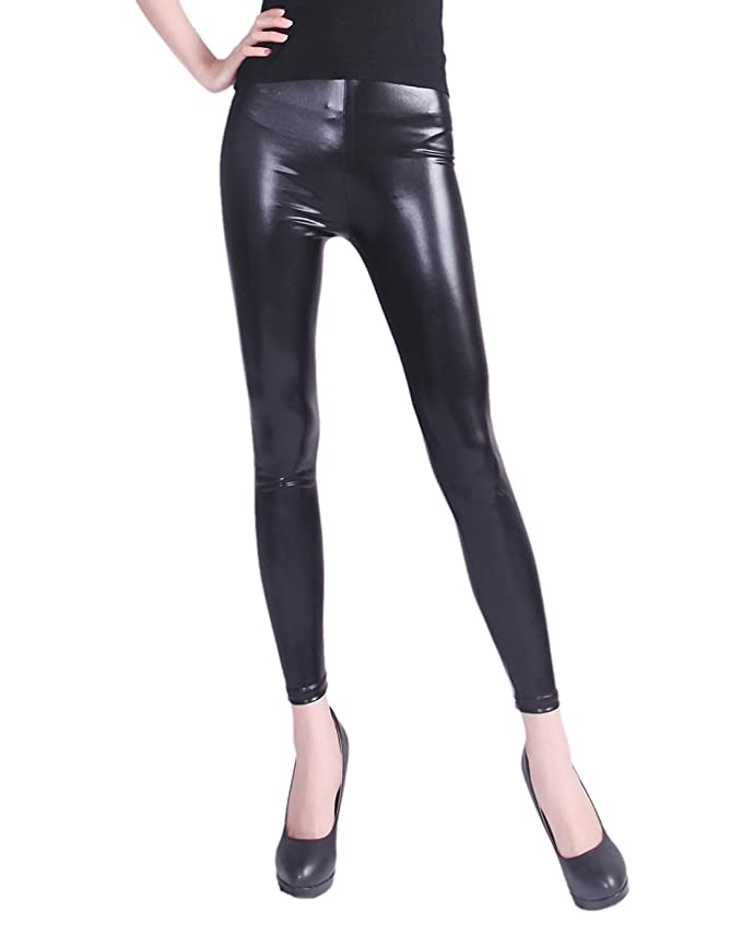 HDE Women's Shiny Leggings Metallic Liquid Wet Look Stretch Pants ...