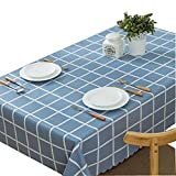 DRAGON SONIC Plaid Garden Table Cloth Waterproof And Oil-Free Disposable-Blue Tile Blue
