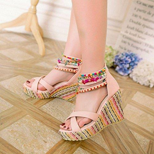 COOLCEPT Damen Mode Knochelriemchen Sandalen Open Toe Keilabsatz Schuhe Mit Zipper Rosa