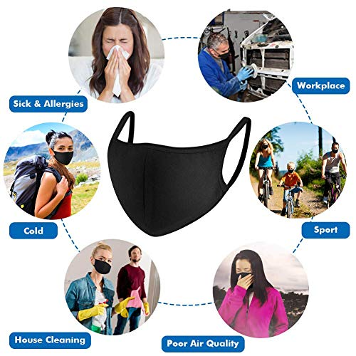 Mouth Mask, Paxcoo 6 Packs Face Mask for Dust, Black Face Mouth Masks Anti-Dust Cotton Mask for Teens Women Men