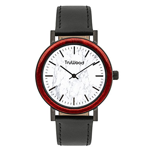 TruWood Arrow Wooden Watch with Red Wooden Bezel and White Marble Dial