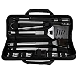 Grill Set 16 Piece BBQ Grill Tool Accessories, CREMAX Stainless Steel Barbecue Kit with Storage Bag with Spatula, Tongs, Skewers,Basting Brush, Corn Holder for Kitchen Outdoor Camping