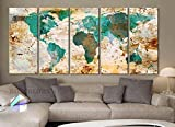 Original by BoxColors Xlarge 30''x 70'' 5 Panels 30x14 Ea Art Canvas Print World Map Original Watercolor Texture Old Wall Design Home Office Decor Green ( Framed 1.5'' Depth)