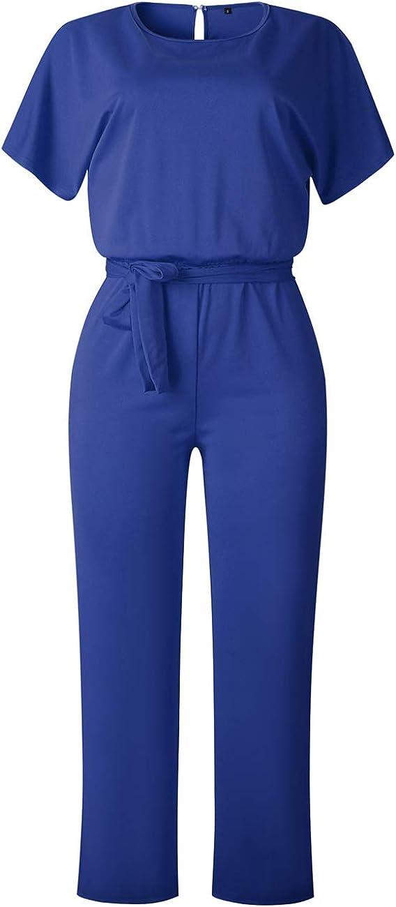 Yieune Jumpsuit Damen Sommer Kurze /Ärmel Elegant Playsuit Strand H/öschen Overall Lang Romper