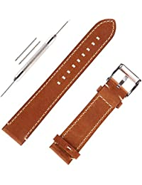 Genuine Leather Watch Band Handmade Italian Calfskin Watch Strap with Stainless Steel Bucklle