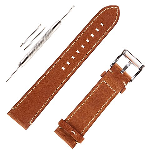 Genunine Leather Watch Band Italian Calfskin Handmade Watch Strap with Stainless Steel Bucklle for Men(20mm, Brown)