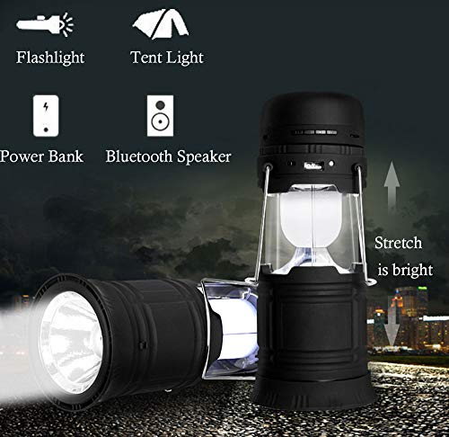 Multi-function 5 in 1 LED Camping Lantern with Bluetooth Speaker Support TF/USB, Solar and USB Rechargeable Flashlight,Power Bank,FM Radio Outdoor Portable Lantern