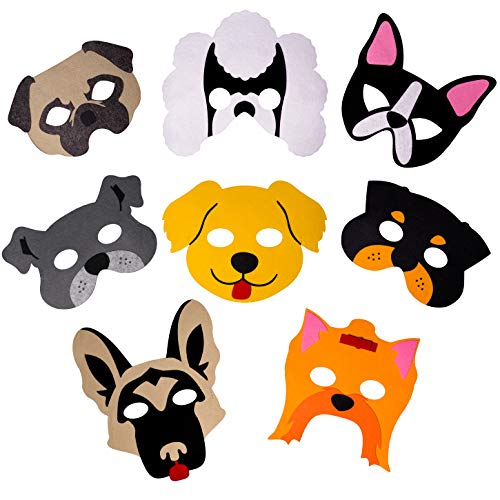 Dog Nose Mask Halloween (Dog Masks for Dog Themed Birthday Party Supplies, 8 Felt Masks, Great Puppy Dog Party Favors for Kids Novelty Dress-up and)