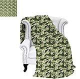 How Many Feet Is a California King Bed Throw Blanket Caribbean Exotic Tree Foliage with Vintage Look in Green Shades Warm Microfiber All Season Blanket for Bed or Couch 80