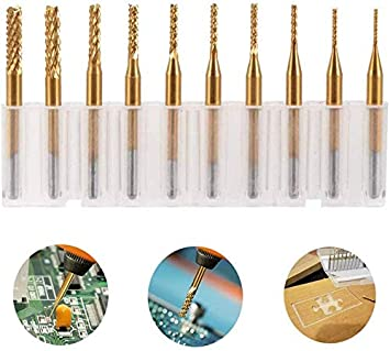 Drillpro 10pcs Titanium Coated Tungsten Carbide Micro PCB Drill Bits Set for