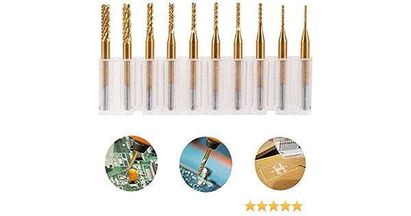 "10pc 1//8/"" 0.8-3.175mm PCB Engraving Cutter Rotary CNC End Mill Drill Bits"