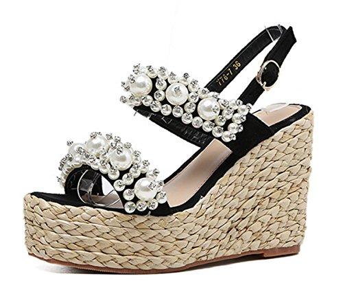 Hohe Sandalswedge MNII GrößE Plattform Zehe Black KnöChel Partei Weisedame Sommermode Schuh Und AbsäTze GeöFfnete Pumpen Frauen Perlen Art BüGel SHSxP