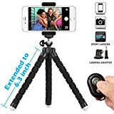 Phone Tripod, SIX-QU 6.3in Adjustable and Flexible phone Stand Holder with Wireless Remote Shutter and Universal Clip For iPhone, Android Phone, Camera and Gopro
