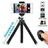 Photo : Phone Tripod, SIX-QU 6.3in Adjustable and Flexible phone Stand Holder with Wireless Remote Shutter and Universal Clip For iPhone, Android Phone, Camera and Gopro