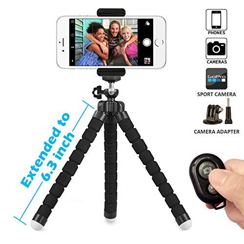 Wireless Pocket Remote (Phone Tripod, SIX-QU 6.3in Adjustable and Flexible phone Stand Holder with Wireless Remote Shutter and Universal Clip For iPhone, Android Phone, Camera and Gopro)