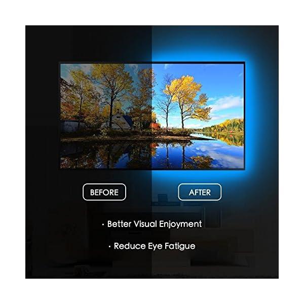 Vansky TV Backlight Kit Bias Lighting for TV,LED Strip Lights USB Powered LED Light Strip RF Remote 30-55 inch TV,Desktop PC – Reduce Eye Strain Increase Image Clarity