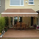 SUPER DEAL Manual Retractable Patio Deck Awning Sunshade Shelter Rain Shelter Outdoor Canopy Balcony Canopy Decorative, 8.2'x6.5' (Beige)