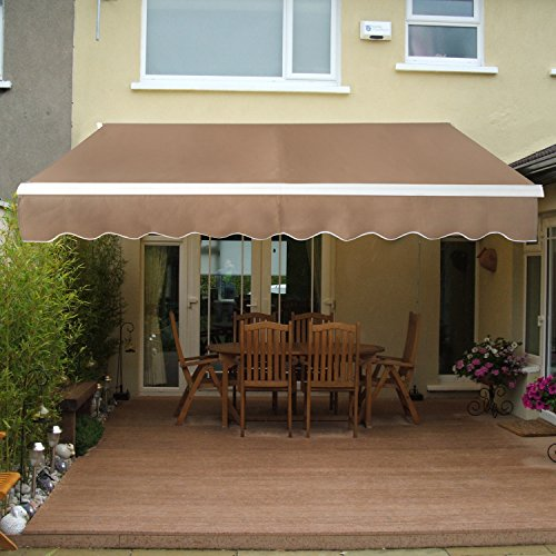SUPER DEAL Manual Retractable Patio Deck Awning Sunshade Shelter Rain Shelter Outdoor Canopy Balcony Canopy Decorative, 8.2'x6.5' (Retractable Patio Awning Canopy)