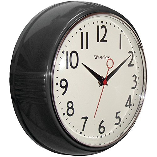 Westclox 32042R Retro 1950 Kitchen Wall Clock, 9.5-Inch Black
