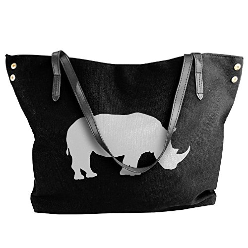 Women's Cute Capacity Large Rhino Handbag Shoulder Tote Canvas Bags Black Large rSwn7Xqr