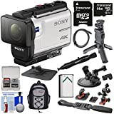 Sony Action Cam FDR-X3000 Wi-Fi GPS 4K HD Video Camera Camcorder Shooting Grip Tripod + Action Mounts + 64GB Card + Battery + Backpack + Kit