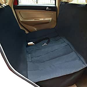 NAC&ZAC New Version Deluxe Waterproof Pet Seat Cover With Bonus Pet Car Seat Belt for Cars and SUV -Nonslip, Quilted, Extra Side Flaps, Machine Washable Pet Hammock Car Seat Cover