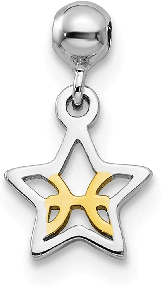 Rhodium-Plated /& Yellow-Tone Sterling Silver Mio Memento Dangle Star Bead Slide Charm
