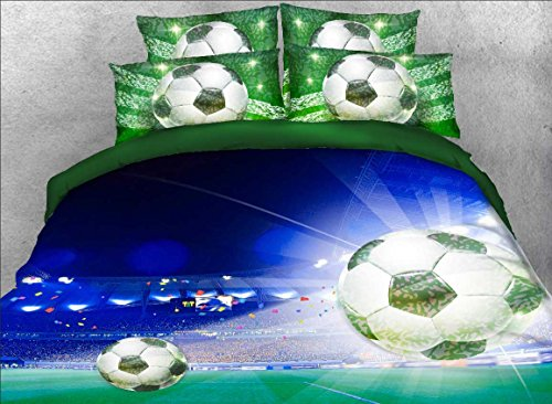 Ammybeddings 3D Bedding Sets 4 Piece Soccer Ball/ Football Duvet Cover Sets Tencel and Cotton Super Soft Cool Sports Bedding Set for Girls and Boys, No Comforter (King, Green3) (Quilt Covers Online Cheap Buy)