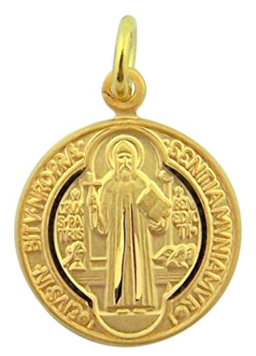 Overlay Gold Plated - 16K Gold Plate Overlay Sterling Silver Saint Benedict Evil Protection Medal, 3/4 inch