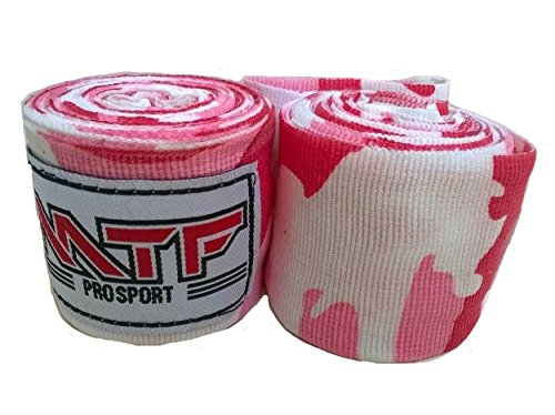 MTF Hand Wraps Muay Thai Boxing MMA K1 Fitness Gear Color Pink Camo Size 180 inches Handwraps for Kickboxing Sport
