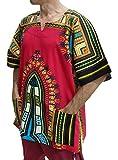 RaanPahMuang Traditional Afrika Print African Dashiki Freedom Shirt, X-Large, Pink For Sale