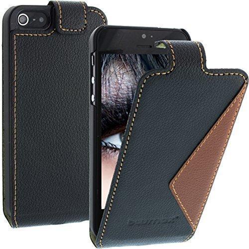 élégant en cuir Flip Case Mixed pour Apple iPhone SE / 5 / 5s - Filo Noir / Marron - avec fermeture magnétique, Étui en Cuir , étui pour téléphone portale, Étui de Blumax