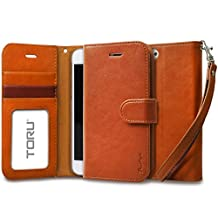 iPhone 6S Case, TORU [Prestizio Wallet] iPhone 6S Wallet Case with [CARD SLOT][ID HOLDER][KICKSTAND][WRIST STRAP] - Premium Wristlet Leather Flip Cover Case for Apple iPhone 6/6S - Brown