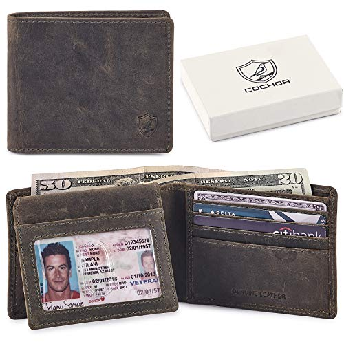 COCHOA Men's RFID Blocking Bifold Wallet With 2 ID Window 3.25