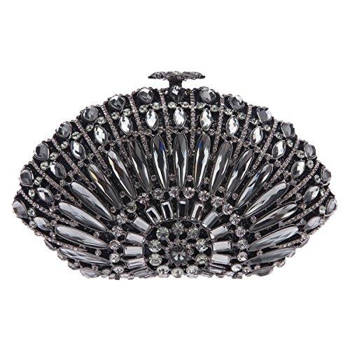 Fawziya Luxury Seashell-Shaped Prom Clutch Purses Bling Crystal Clutch Evening Bag-Grey (Satin Sea Grey)