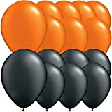 Pack Of 15 Assorted Black & Orange Latex Balloons. Halloween Decorations