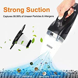 Updated-Ms Kelly Car Vacuum Cleaner Strong Suction Car Vacuum Portable Handheld Automotive Vac Cleaner for Wet&Dry and HEPA Filter Use for All Cars-Black