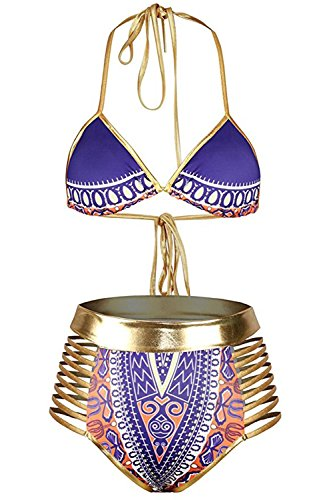 Womens African Tribal Metallic Swimsuit