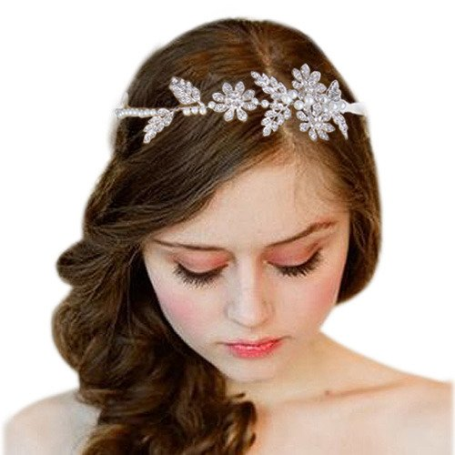 Clearine Womens Bohemian Simulated Pearl Flower Crystal Wedding Ribbon Tie Bendable Hair Accessory