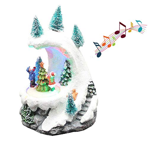 Lighted & Musical Christmas Snow Mountain with Roating Holiday Tree Children Decorating Sence Figurine Ployresin Battery ()
