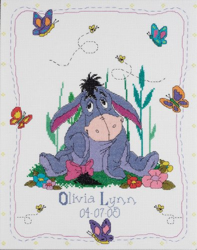 Janlynn Cross Stitch Kit, 14-Inch by 11-Inch, Eeyore and Butterflies Birth Announcement (Disney Birth Sampler)
