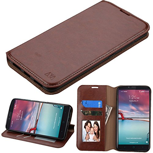 ZTE Grand X Max 2 Case , Imperial Max Case , Zmax Pro Case , Max Duo 4G LTE Case , Kirk Phone Case , TSC-LT Fold Stand Cover Premium Leather Wallet Pouch with Card Slots (Brown Wallet) (Zte Imperial 2 Wallets Case compare prices)