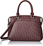 Calvin Klein Key Item Raelynn Monogram Top Zip Satchel, Textured Petal/Merlot