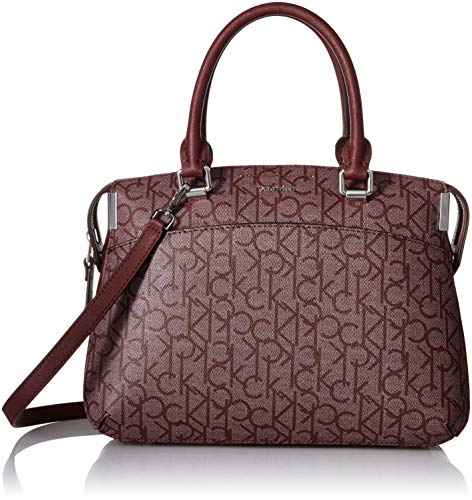 (Calvin Klein womens Calvin Klein Key Item Raelynn Monogram Top Zip Satchel, textured petal/merlot, One Size)