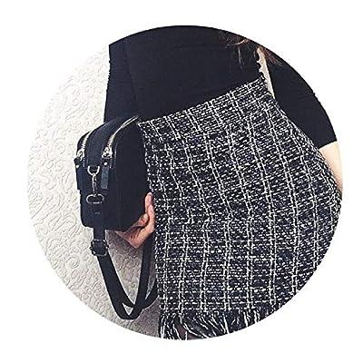 Women Woolen Mini Skirt Autumn Winter Vintage Straight Plaid Tassel Skater Skirt High Waist Femininas SK5583