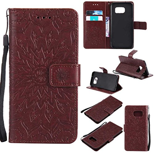 Galaxy S7 Edge Case, KKEIKO® Galaxy S7 Edge Flip Leather Case [with Free Tempered Glass Screen Protector], Shockproof Bumper Cover and Premium Wallet Case for Samsung Galaxy S7 Edge (Brown)