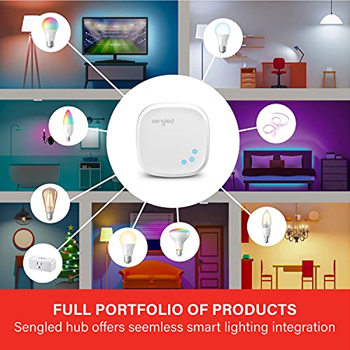 Sengled Smart Light Bulb Starter Kit, Smart Bulbs that Work with Alexa, Google Home, Color Changing Light Bulb, Alexa Light Bulbs, A19 E26 Dimmable Bulbs 800LM, 8.6W (60W Equivalent), 2Pack with Hub